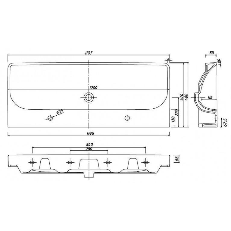 TRAFFIC умывальник мебельный 120*48 см с двумя отверстиями,с переливом (пол.) L91520000, фото 2