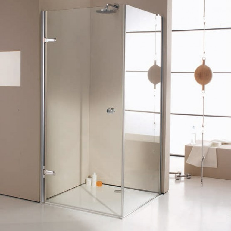 """ENJOY ELEGANCE дверь распашная 100*200 см. (крепл. слева, стекло прозр Anti-Plague, профиль хром, ручка """"Comfort""""), фото 1"""