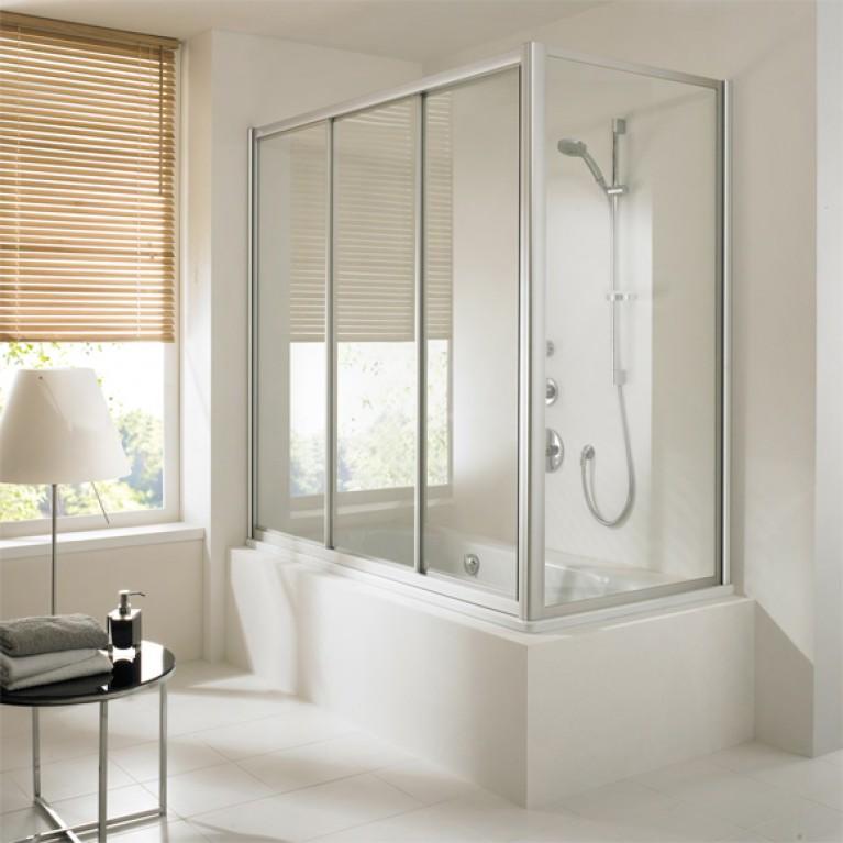 ALPHA шторка на ванную  180*165см (проф матов серебро, стекло прозрачное)