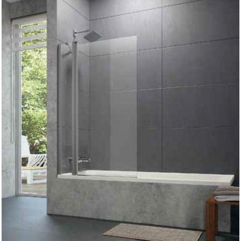DESIGN PURE шторка для ванны, 155*150см, профиль мат. сер., стекло с Anti-Plaque + Bubbles, односекц.с неподвижн.сегментом, фото 2