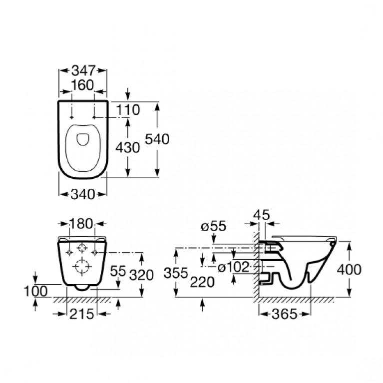 Комплект: GAP Rimless унитаз подвесной с сидением soft close A34H47C000+38772001+37131000