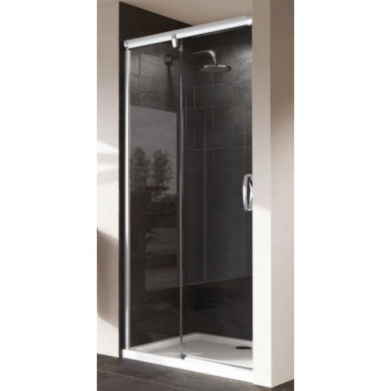 AURA ELEGANCE дверь односек-я раздв-я 130*190 см(проф-мат сер,стекло-прозр, ф-я SoftOpen/SoftClose) установка на поддон