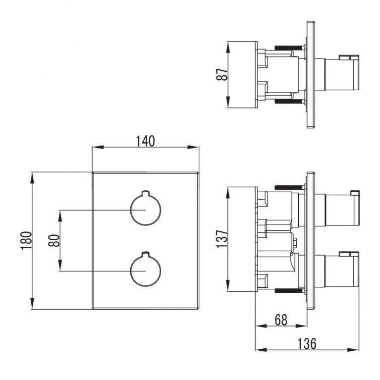 CENTRUM смеситель для ванны, термостат, скрытый монтаж (3 потребителя) VRB-10400Z, фото 3
