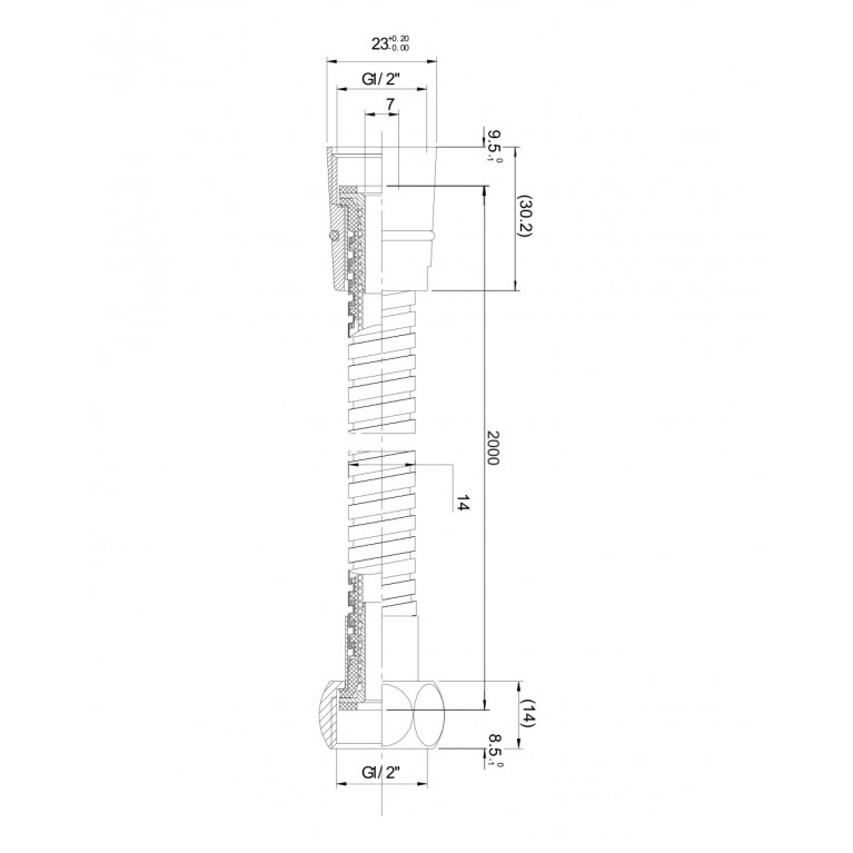 Шланг для душа эластичный, рястягивающийся с двойной оплеткой 1,7-2,1 м 1217