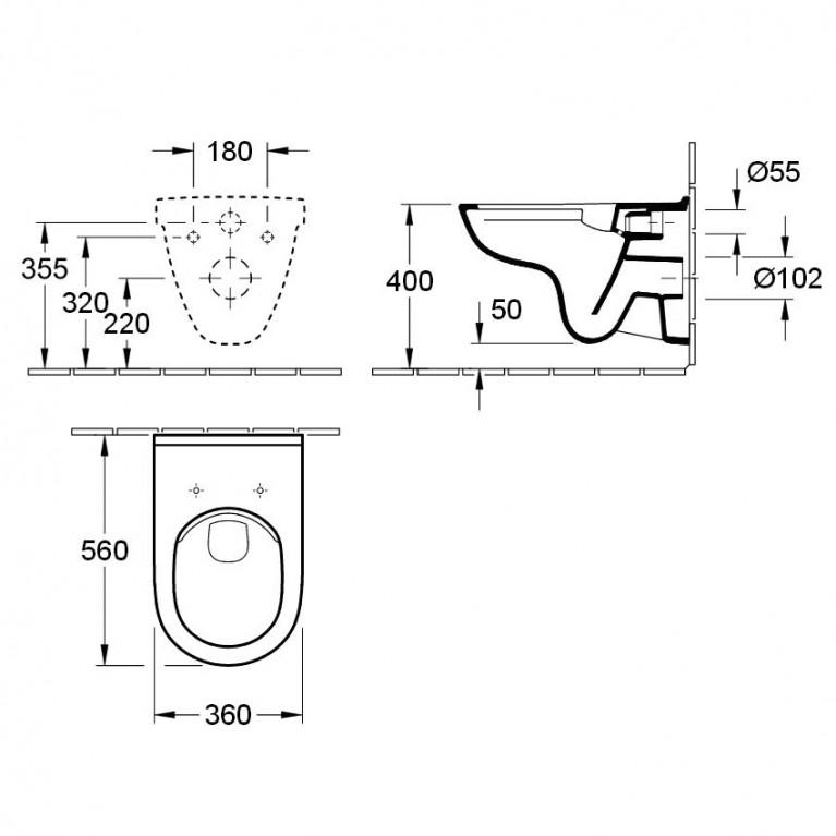Комплект: О.NOVO DirectFlush унитаз подвесной 5660HR01 с сид. soft-close, Grohe инсталляция 38721001 5660HR01+38721001+37131000