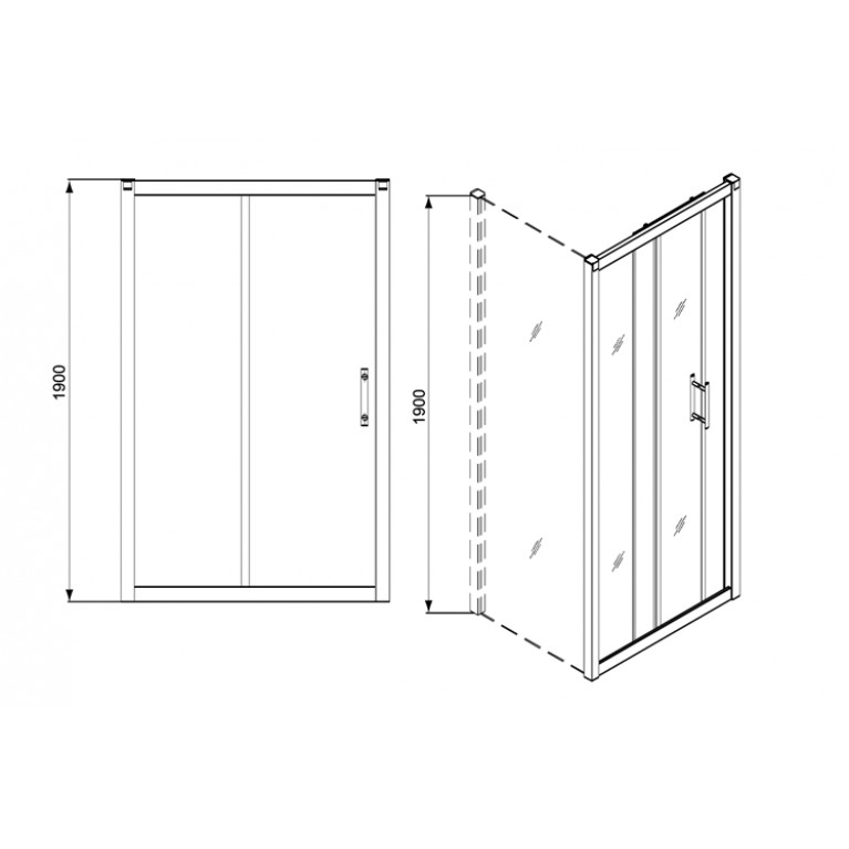 GEO 6 двери раздвижные 100 см, закаленное стекло, серебряный блеск GDRS10222003, фото 2