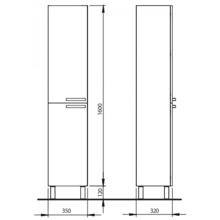 FREJA шкафчик боковой высокий, белый глянец (укр) 88384001, фото 2