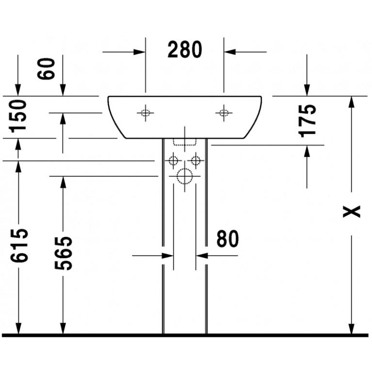 D-CODE умывальник 55*43см, с переливом, с 3мя отверстиями под смеситель, глазуровка снизу, включая крепление 23105500302, фото 4