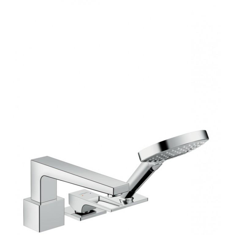 Metropol Смеситель однорычажный на край ванны на 3 отверстия с дугообразной ручкой, хром, фото 1