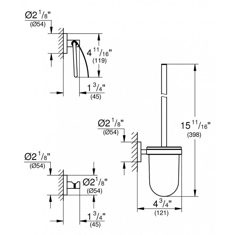 Essentials набор аксессуаров 3в1: ершик, крючок, держатель туалетной бумаги 40407DC1, фото 2