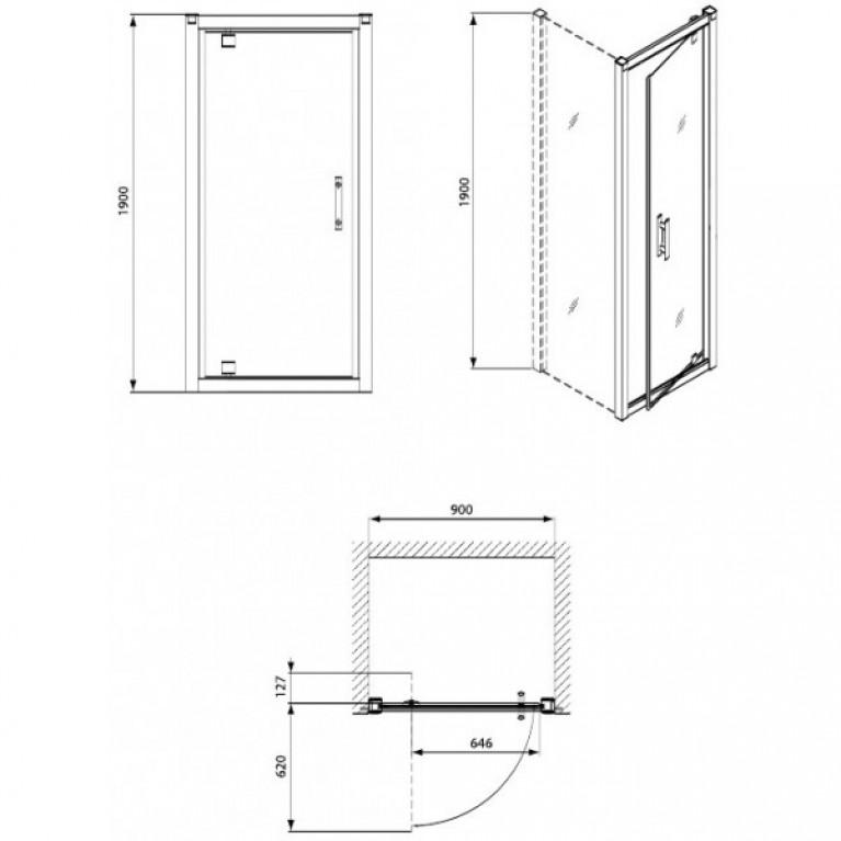 GEO 6 дверь в нишу bifold 90см. Стекло PRISMATIC,серебряный блеск GDRB90205003, фото 2