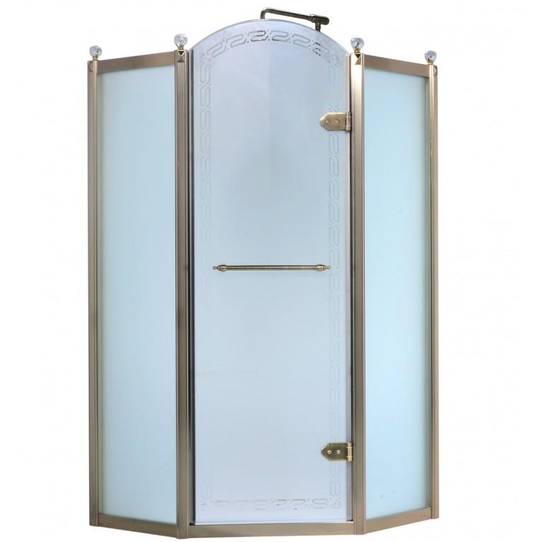 Купить GRAND TENERIFE Bronze Кабина пятиугольная с распашной дверью, в бронзе, без поддона 900*900*2000мм у официального дилера VOLLE в Украине