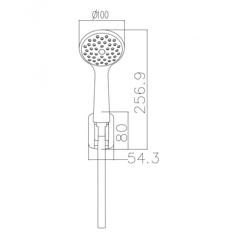 Набор душевой  - ручной душ 1 режим, шланг, держатель 1115+S023+W100SL1 CP, фото 2