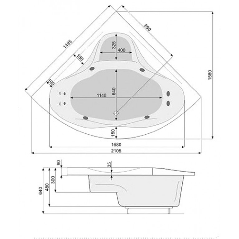 FRANCJA XL ванна 150x150 + ECONOMY 1 PHSH710SO1C0000, фото 2