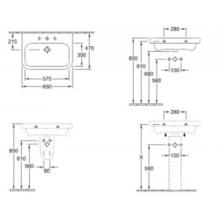 ARCHITECTURA умывальник 65*47см, для 3 поз.смесителя, с центр. отв. под смес., с переливом, белый альпин 41886501, фото 2