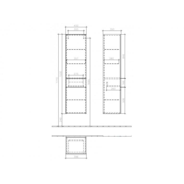 AVEO NEW GENERATION шкаф-пенал 40*153*35см, подвесной, петли справа, цвет Pure Oak, фото 2