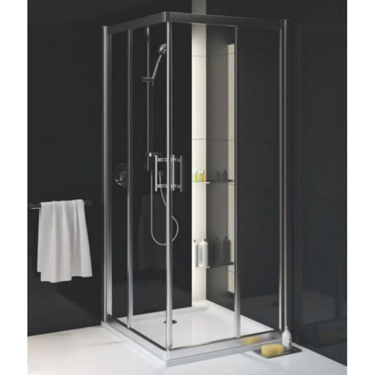 GEO 6 кабина квадратная 90 x 90 см, двери раздвижные, закаленное стекло, серебряный блeck(A+B), фото 1