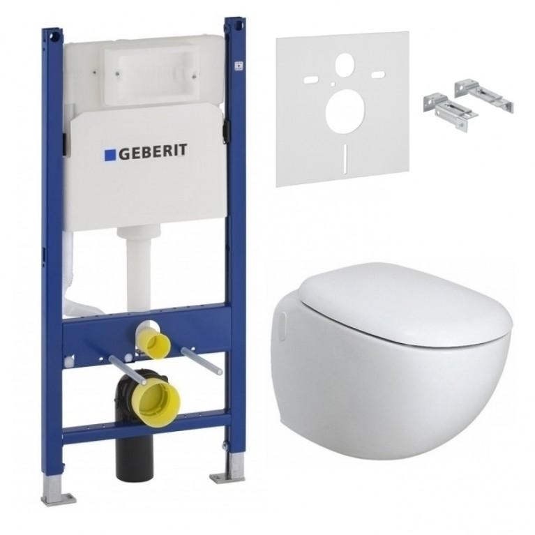 Комплект: EGO унитаз подвесной Rimfree, с покрытием Reflex, Geberit Duofix инсталляция 3в1, сид. Duroplast soft-close
