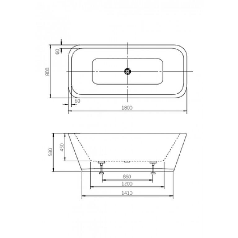 DIVINE ванна 180*80см, с сифоном и ножками A24T444000, фото 2