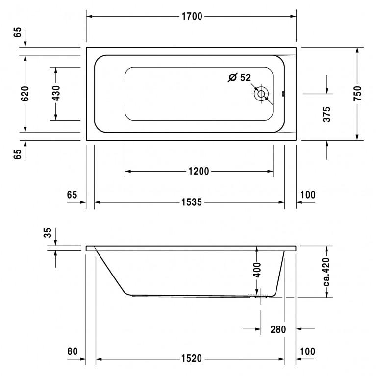D-CODE ванна прямоугольная 170*75см 700100000000000, фото 2