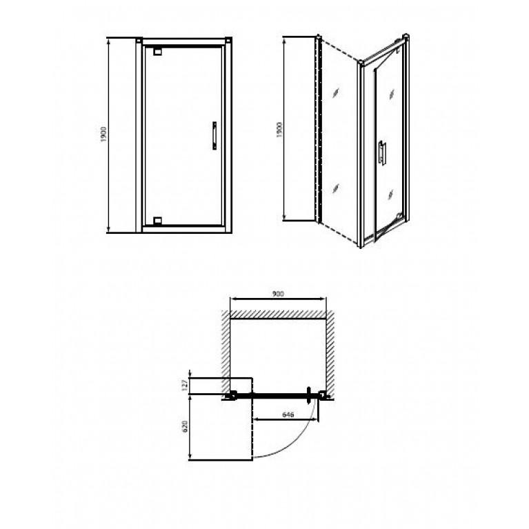 GEO 6 двери pivot, 90 см, для комплектации с боковой стенкой GEO 6 профиль серебряный блеск GDRP90222003, фото 2