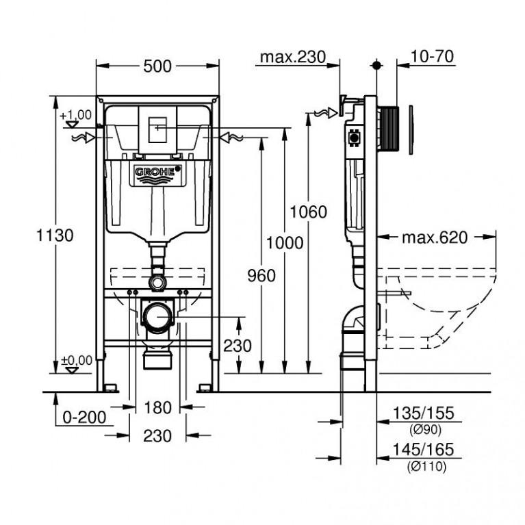 Комплект: GAP Rimless унитаз подвесной с сидением soft close, комплект инсталляции Rapid SL 38721001 A34H47C000+38721001+37131000, фото 3