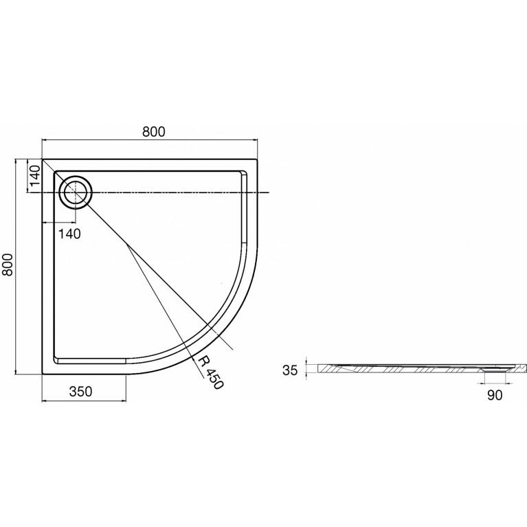 AERON поддон 80*80*3,5см, из искусств. камня STONEX, полукруглый, с трапом и сифоном в комплекте , R450mм, белый A276283100, фото 3