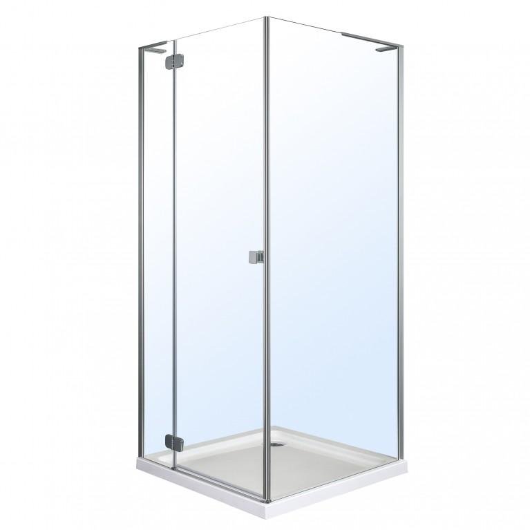BENITA душевая кабина квадратная 900*900*2000мм, поддон (PUF) 5 см (с сифоном),левая, распашная, профиль хром, стекло прозрачное