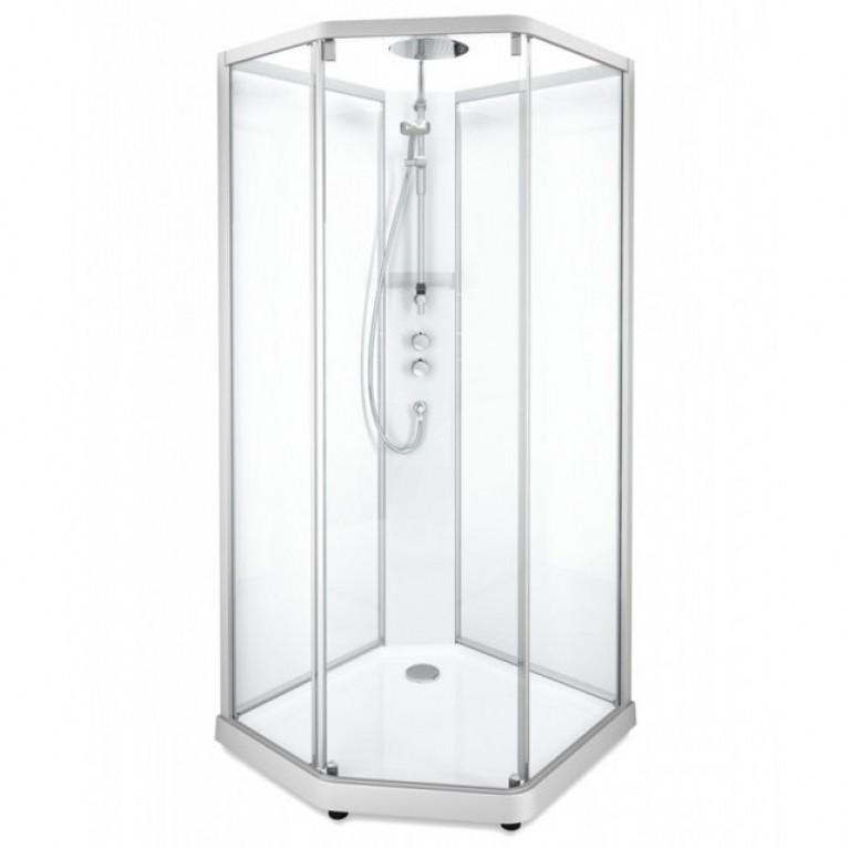 IDO задние стенки к душевой пятиугольной кабине 100*100см, серебристый профиль/прозрачное стекло