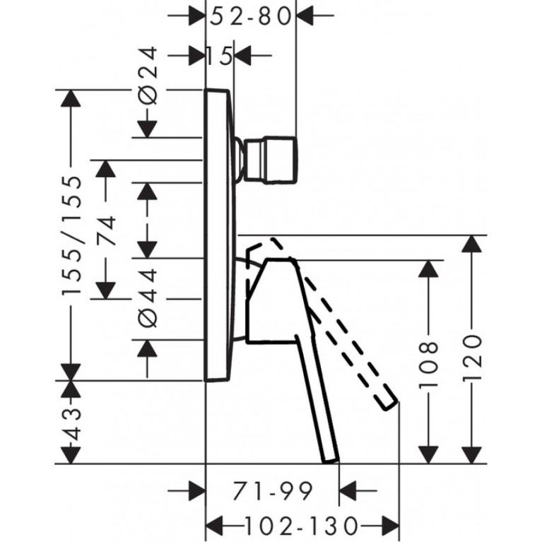 Logis Loop Смеситель для ванны однорычажный, скрытый монтаж, хром 71264000, фото 2