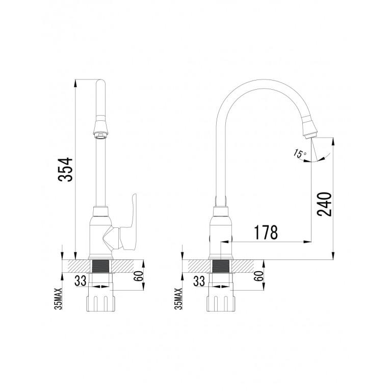 MZE смеситель для кухни, хром, 35мм 55130, фото 2