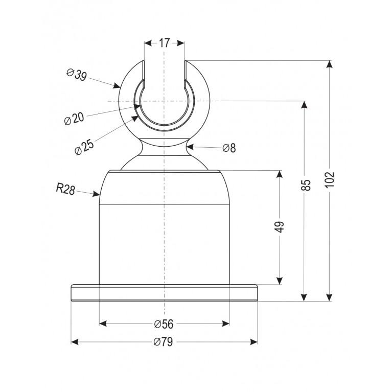 Держатель душевой лейки , настенный, крупный, регулируемый 360°, хром, картон S033 carton