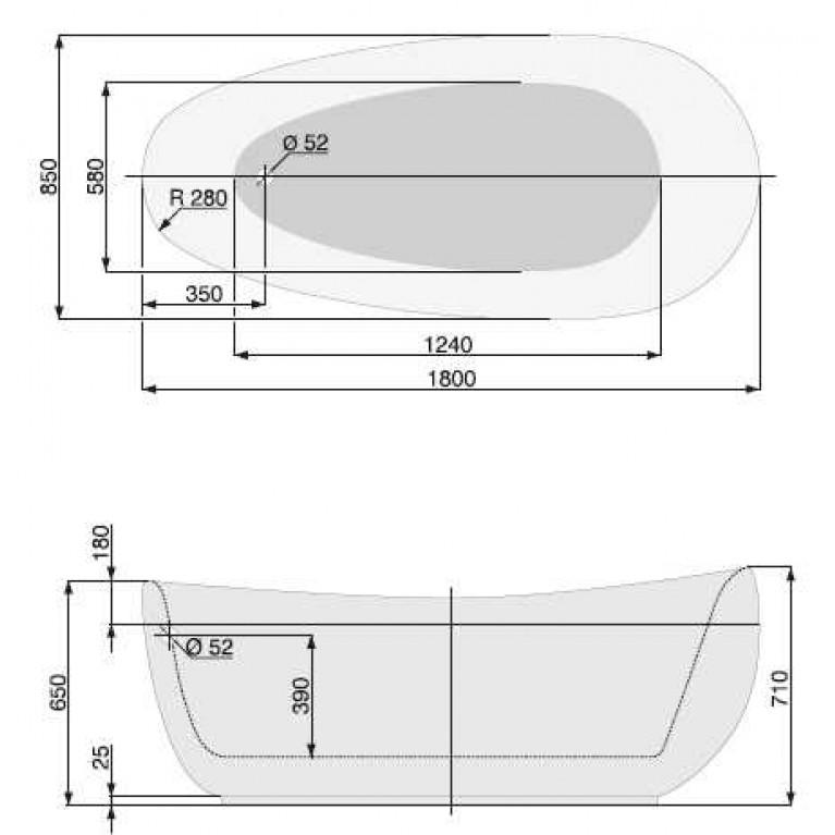 """FUTURE ванна  180 X 85 со сливом-переливом """"klick"""" (хром) PWKPF10ZP0C0000, фото 2"""
