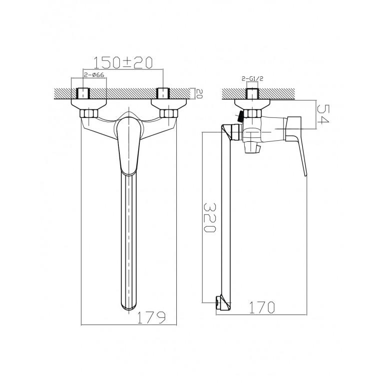 WITOW смеситель для ванны с длинным изливом, хром, 35мм 35080, фото 2