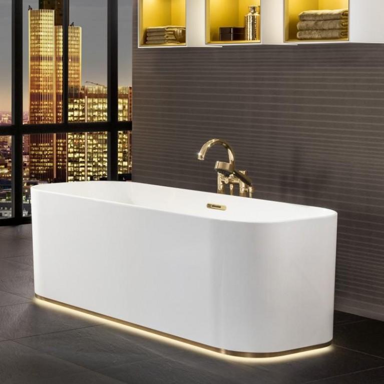 FINION ванна 170*70см, отдельностоящая, бесшовная, ф-ия Emotion, подсветка, оснащение золото, цвет ванны белый альпин, фото 3