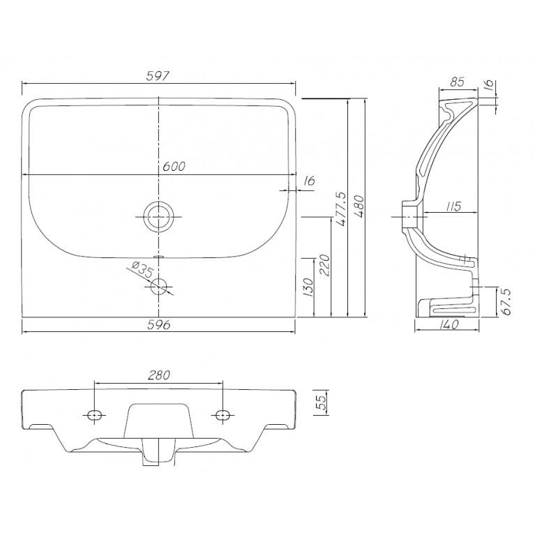 TRAFFIC умывальник мебельный 60*48 см,с отверстием,с переливом (пол.) L91161000, фото 2