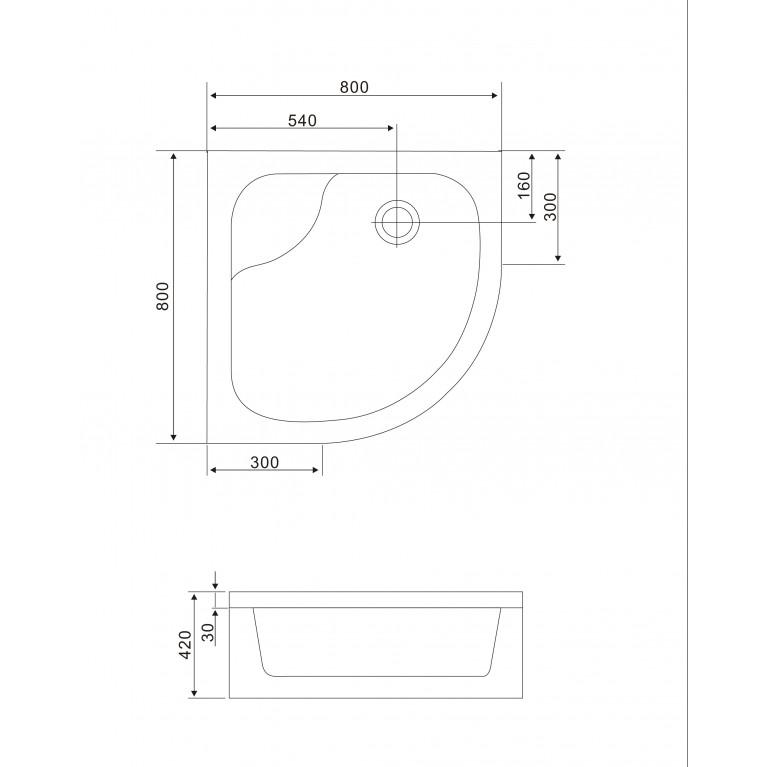"""TISZA MELY душевая кабина 90*90*200 см, на глубоком поддоне, профиль белый, стекло """"Zuzmara"""" 599-187, фото 3"""