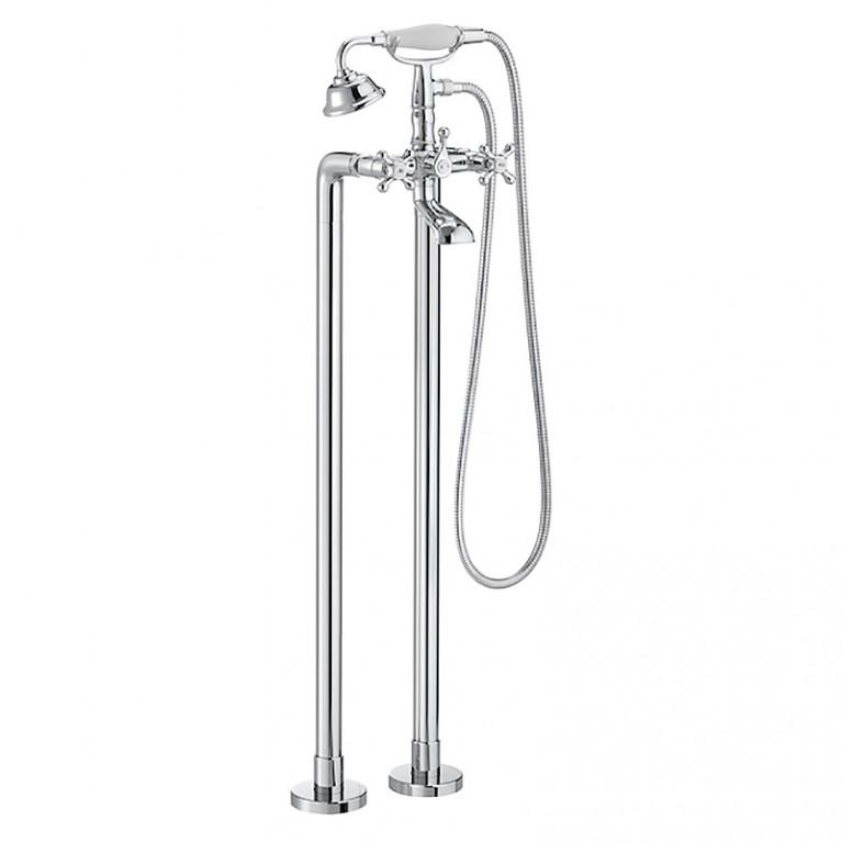 CARMEN смеситель ванна/душ 2х вентильный, отдельностоячий, монтируется на полу, с душевым набором в комплекте, фото 1