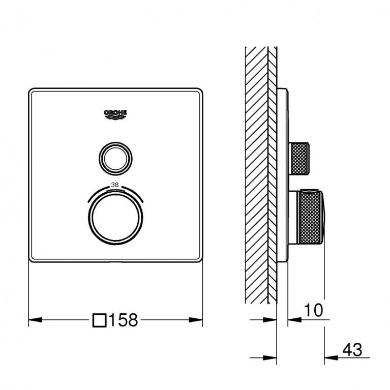 Grohtherm SmartControl Термостат для душа, встраиваемый без подключения шланга 29123000, фото 2