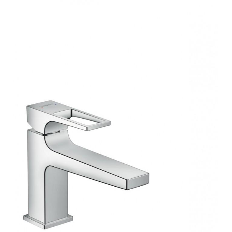 Metropol Смеситель для раковины рднорычажный 100 с дугообразной ручкой и сливным гарнитуром push-open, хром, фото 1