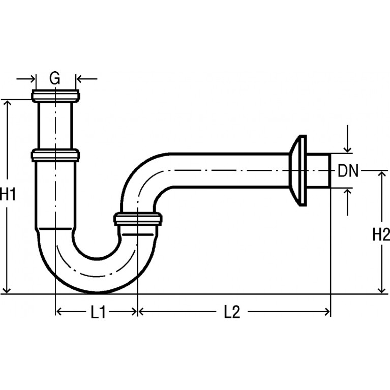 Сифон трубный для умывальника 1 1/4, хром (305611) 305611