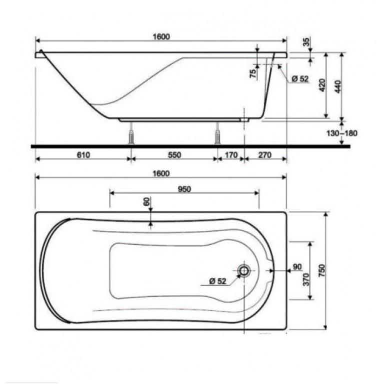 COMFORT ванна 160*75см без панели ( гидром. система комфорт) HC3060000, фото 3