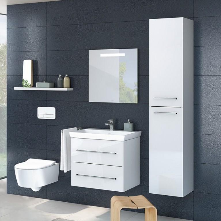 AVENTO шкаф-пенал 35*176*37см, подвесной, петли справа, цвет Crystal White, фото 3