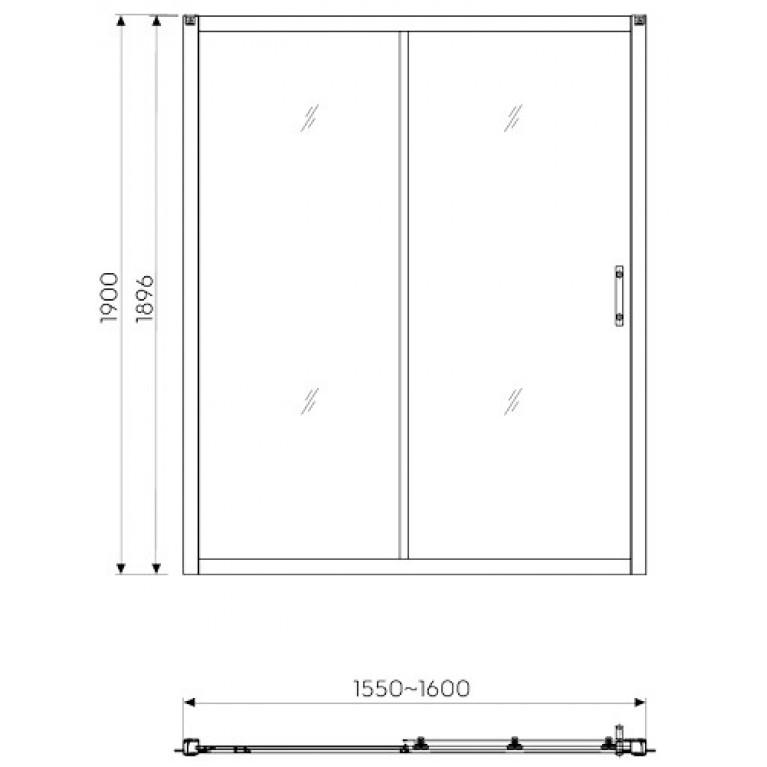 GEO 6 двери 160см, раздвижные 2-элементные, закаленное стекло, серебряный блеск, часть 1/2 GDRS16222003A, фото 2