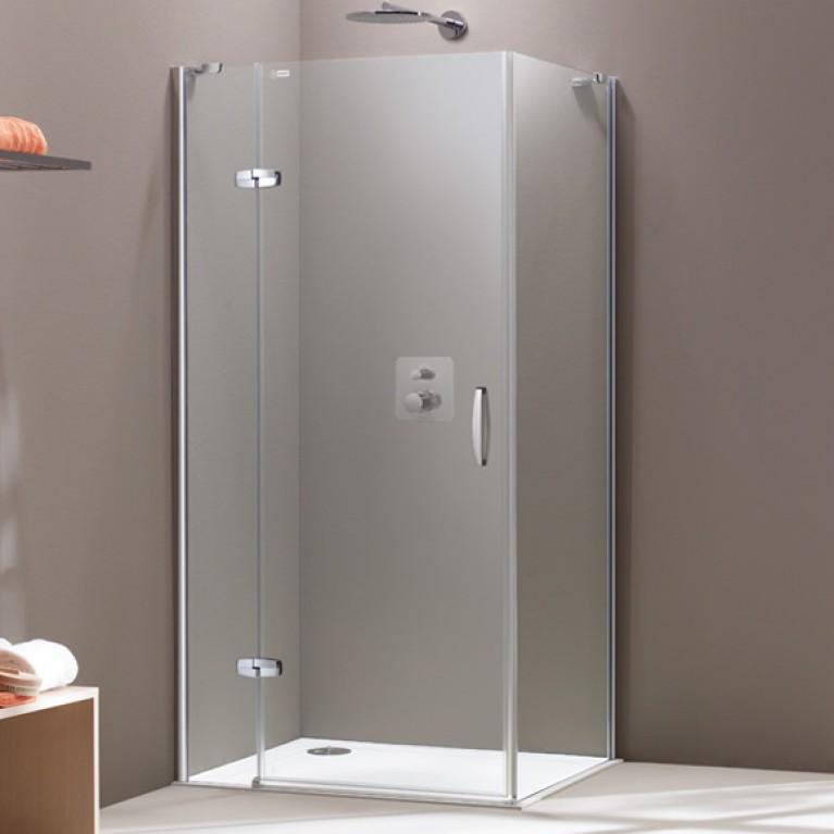 AURA дверь распашная с неподвижным сегментом 90*190см (проф матов серебро, стекло прозр)