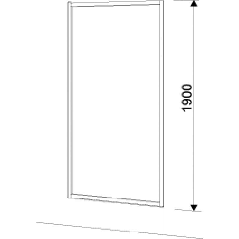 GEO 6 боковая стенка 90 см, для комплектации с раздвижными дверями Pilot и Bifold серебряный блеск GSKS90222003, фото 2