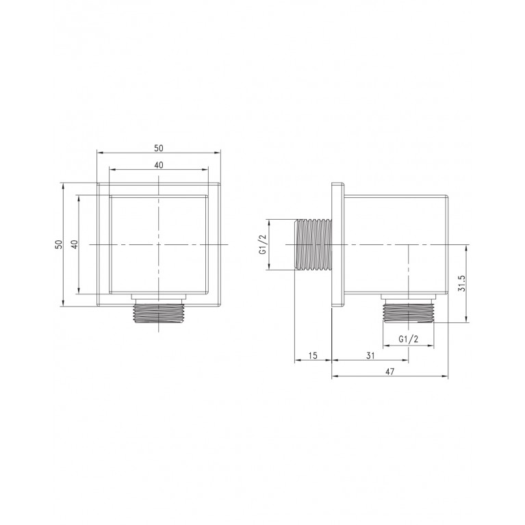 """Подсоединение шланговое (квадр) 1/2 """" HC02, фото 2"""