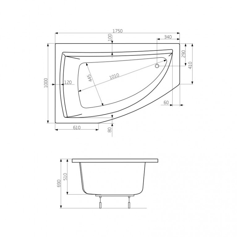AQUAMARINA ванна 175*100см, левая, с ножками PWAI310ZN000000, фото 3