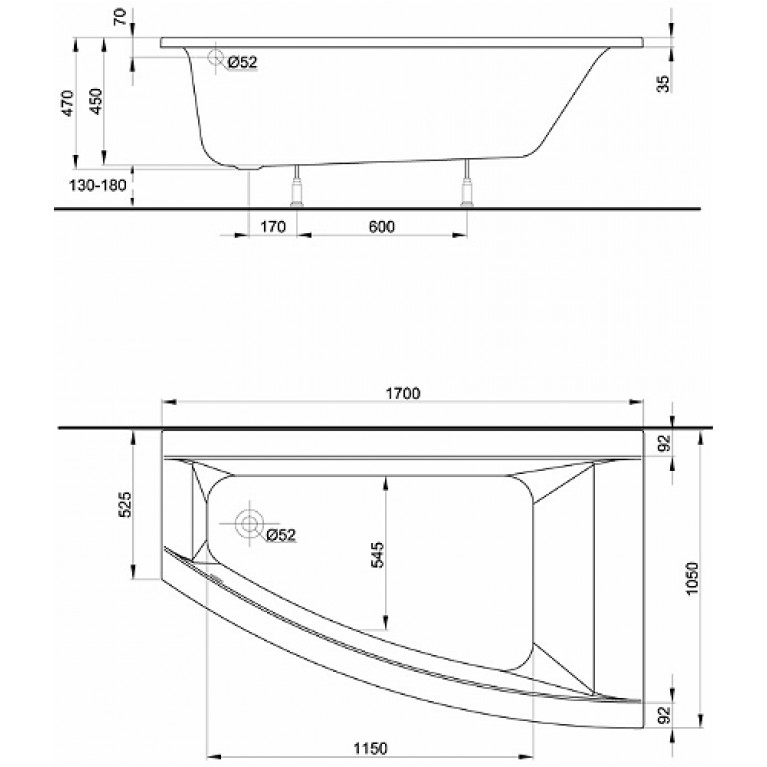 CLARISSA ванна 170*105 см, асимметричная, правая XWA0870000, фото 2