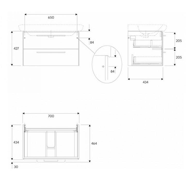 LIFE! шкафчик под умывальник 80 см с двумя ящиками, серый глянец 89468000